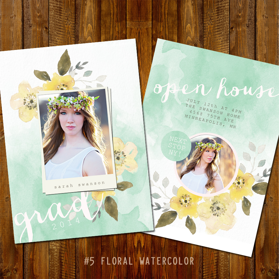 #5 Floral Watercolor Grad Card